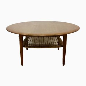 Round Danish Teak & Rattan Coffee Table by Johannes Andersen for Silkeborg, 1960s