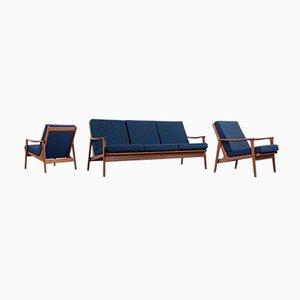 Canapé et Fauteuils Mid-Century Moderne en Teck par Parker Furniture, 1950s, Set de 3