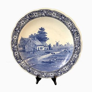 Großer niederländischer Vintage Delftware Teller von Petrus Regout & Co. Maastricht