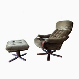 Vintage Scandinavian Reclining Swivel Egg Lounge Chair & Footstool, Set of 2
