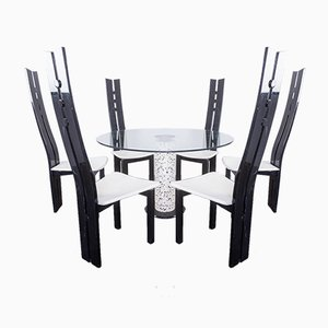 Glass Dining Table & 6 Chairs, 1980s, Set of 7