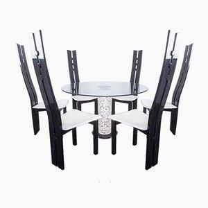 Tavolo da pranzo e 6 sedie in vetro, anni '80, set di 7