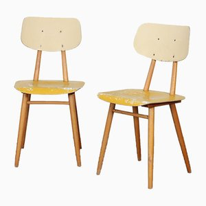 Czech Wooden Chairs with Yellow Seat and Cream Backrest from TON, 1960s, Set of 2