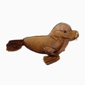 Vintage Leder Seal Kinder Pouf, 1950er