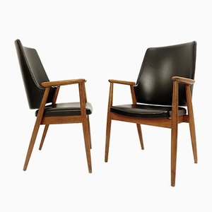 High Back Armchairs with Black Leatherette Upholstery by Cees Braakman for Pastoe, 1950s, Set of 2