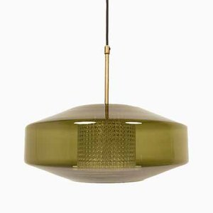 Large Scandinavian Modern Green Glass Pendant Lamp by Carl Fagerlund for Orrefors, 1960s