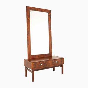 Danish Modern Rosewood Dresser & Mirror Set, 1960s, Set of 2