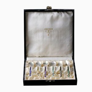 Silver Spoons with Enamel in a Gift Case, Set of 6