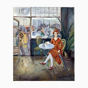Girl in the Café, Watercolor on Paper