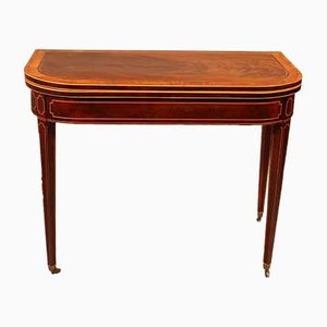 Small Mahogany Console or Game Table with Inlays, 18th Century