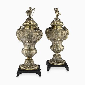 Antique German Solid Silver-Gilt Vases, 1880s, Set of 2