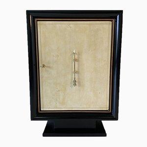 Italian Art Deco Parchment & Brass Bar Cabinet, 1940s