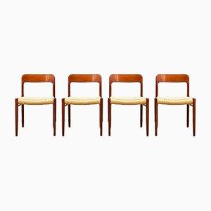 Dänische Teak 75 Stühle von Niels Otto Møller für JL Møllers, 1950er, 4er Set