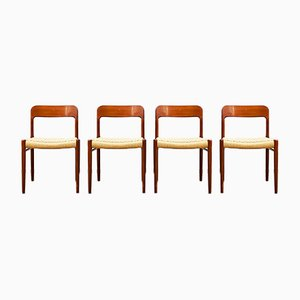 Danish Teak 75 Chairs by Niels Otto Møller for J. L. Møllers, 1950s, Set of 4