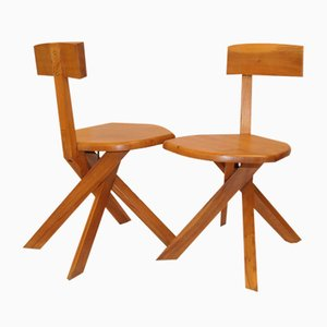 Vintage S34 Chairs by Pierre Chapo, Set of 2