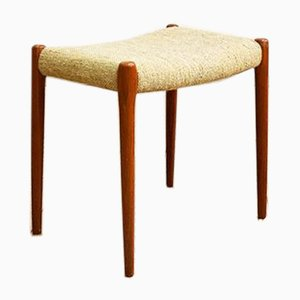 Danish Teak 80A Stool with Wool Cover by Niels Otto Møller for J. L. Møllers, 1950s
