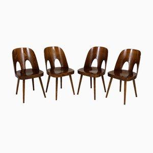 Holzstühle von Oswald Haerdtl für TON, 1950er, 4er Set