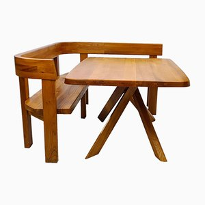 S35B Table & S35 Benches by Pierre Chapo, Set of 3