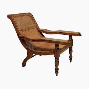 Large Solid Teak Plantation Chair, 19th Century