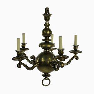 Lampadario antico in ottone, Paesi Bassi, metà XIX secolo