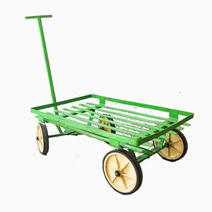 Vintage Industrial Green Trolley, 1970s