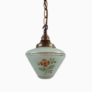 Swedish Modern Pistachio Green Painted Glass Pendant Lamp with Chain Suspension