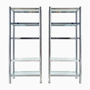 Polished Chrome & Glass Shelving Unit, 1970s, Set of 2