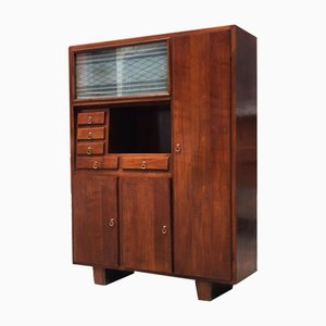 Italian Walnut Cupboard with Compartments and Drawers, 1940s