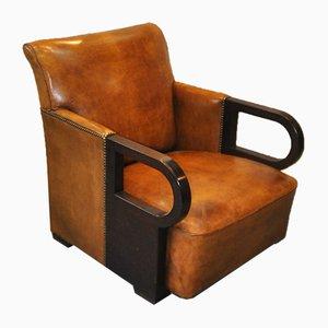 Dutch Art Deco Sheep's Leather Armchair, 1930s