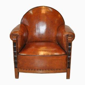 Dutch Art Deco Coromandel & Sheep's Leather Armchair, 1930s