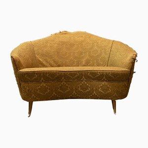 Geschwungenes Vintage Sofa mit Vergoldeten Beinen aus Messing von Guglielmo Veronesi für Isa Bergamo