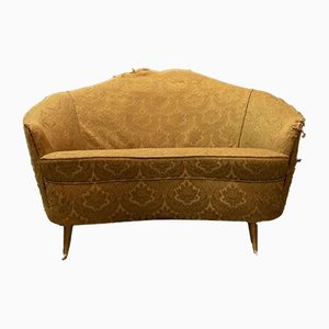 Vintage Curved Sofa with Gilt Brass Legs by Guglielmo Veronesi for Isa Bergamo