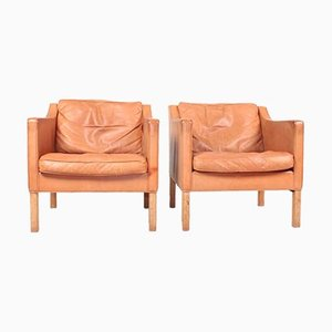 Danish Patinated Leather Lounge Chairs by Børge Mogensen for Fredericia, 1960s, Set of 2