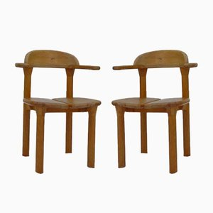 Danish Rainer Daumiller Style Brutalist Rustic Chairs with Beechwood Armrests, 1970s, Set of 2