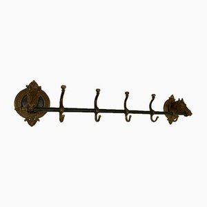 Solid Brass Horse Head Coat Rack, 1950s