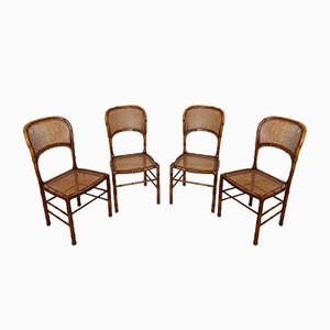 Imitation Bamboo Wooden Chairs, 1970s, Set of 4