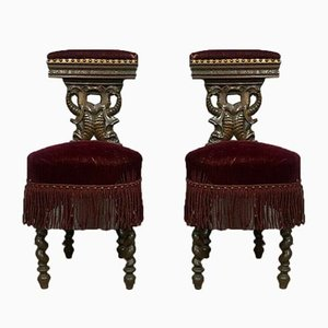 Napoleon III Dark Wood Smoker's Chairs, 1850s, Set of 2
