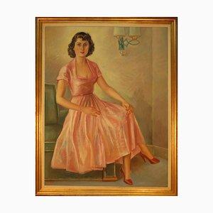 Großes Art Deco Ölgemälde, das Frau in einem Kleid sitzt auf einer Klubsuhl-Armlehne darstellt