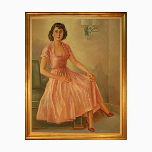 Large Art Deco Oil Painting Depicting Woman in a Dress Sitting on a Club Chair Armrest