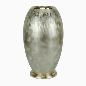 Art Deco Silver-Plated Metal Vase with Serrated Design from WMF Ikora, 1930s