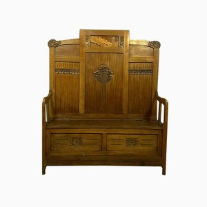 Antike Mahagoni Sitzbank im Jugendstil mit Intarsie, 1900er