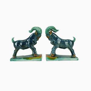 Fermalibri vintage Art Deco a forma di capricorno in ceramica con capra di Carstens Goldscheider, set di 2