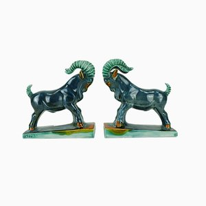 Vintage Art Deco Ceramic Capricorn / Goat Figurine Bookends from Carstens Goldscheider, Set of 2