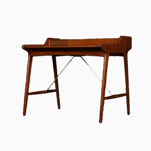 Vintage Teak & Brass Writing Desk by Svend Aage Madsen for K. Knudsen & Søn