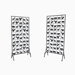 French Wrought Iron Screen / Room Divider with Animal Design from Atelier Marolles, 1950s