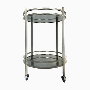 Round Italian Nickel & Smoked Glass Bar Cart, 1960s