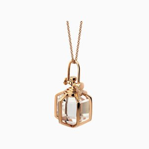 Modern 18k Solid Rose Gold Medium Six Senses Talisman Pendant Necklace with Natural Healing Rock Crystal by Rebecca Li