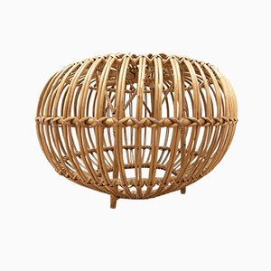 Mid-Century Lobster Pot Cane & Wicker Ottoman by Franco Albini