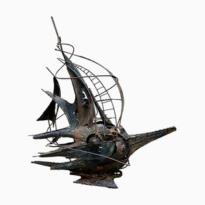 Futuristisches Segelboot, Skulptur aus Kupfer, A. Di Giovanni, Italien, 1950er
