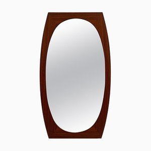Oval Scandinavian Wood Wall Mirror, 1960s
